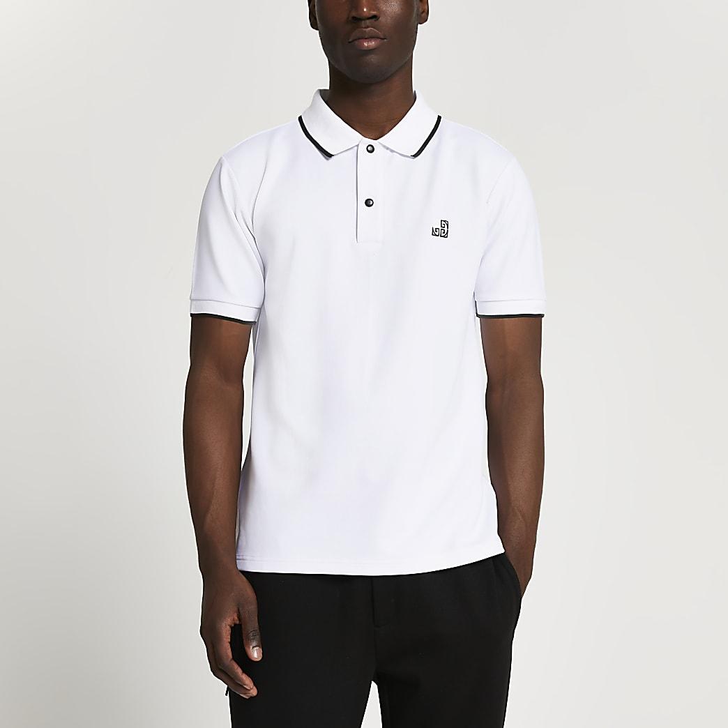 White RI pique slim fit polo shirt