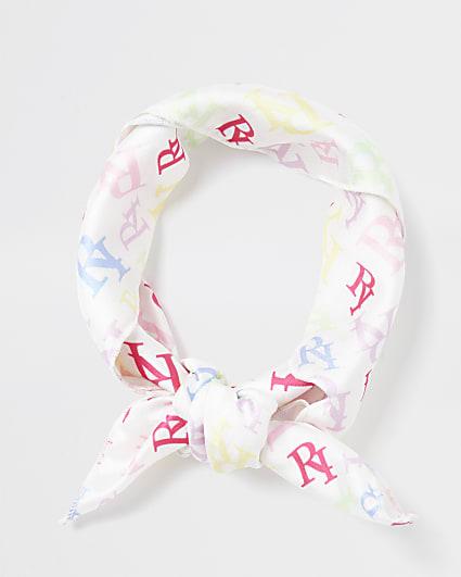 White RI print bandana