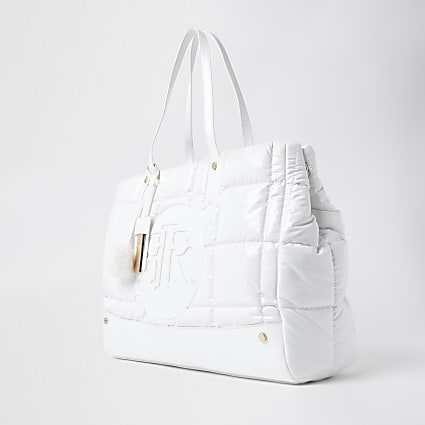 White RI puffa shopper bag
