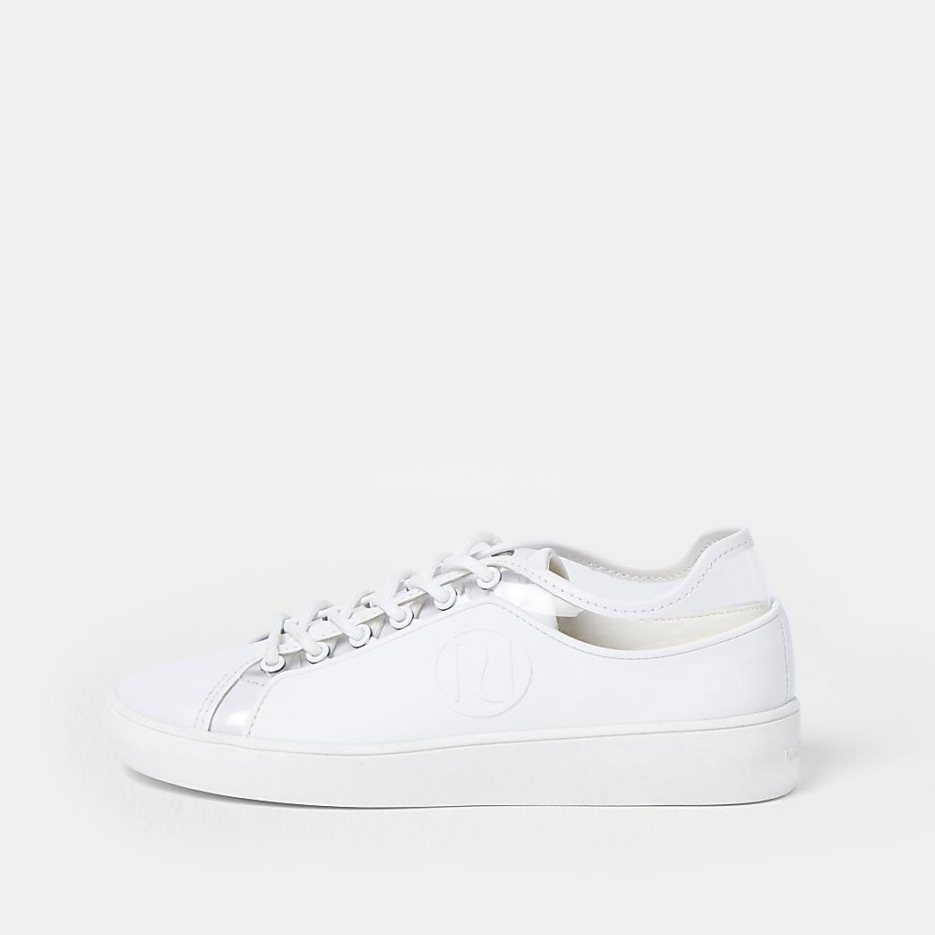 White RI rubberised lace up plimsoles