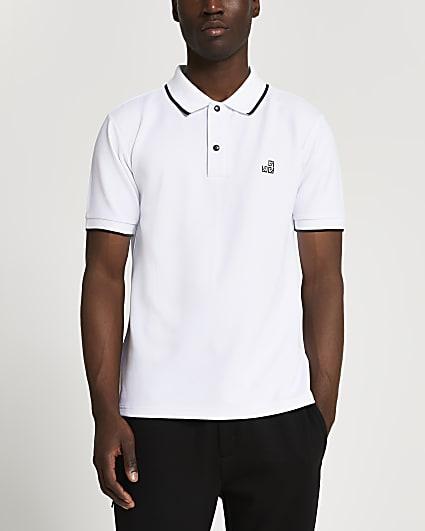 White RI slim fit short sleeve polo shirt