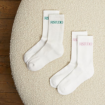 White RI Studio 2 pack sport socks