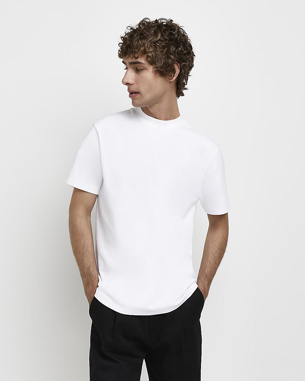 White RI Studio slim fit high neck t-shirt