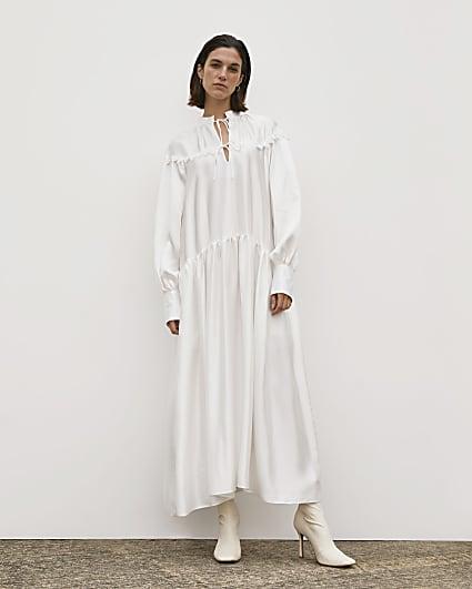 White RI Studio Tie Neck Smock Maxi Dress