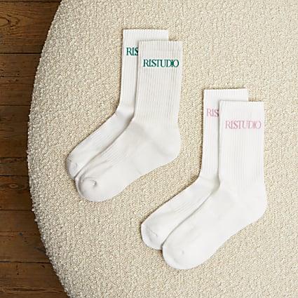 White RI Studio tube socks 2 pack