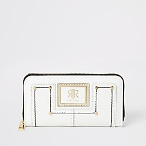 White RI zip around purse