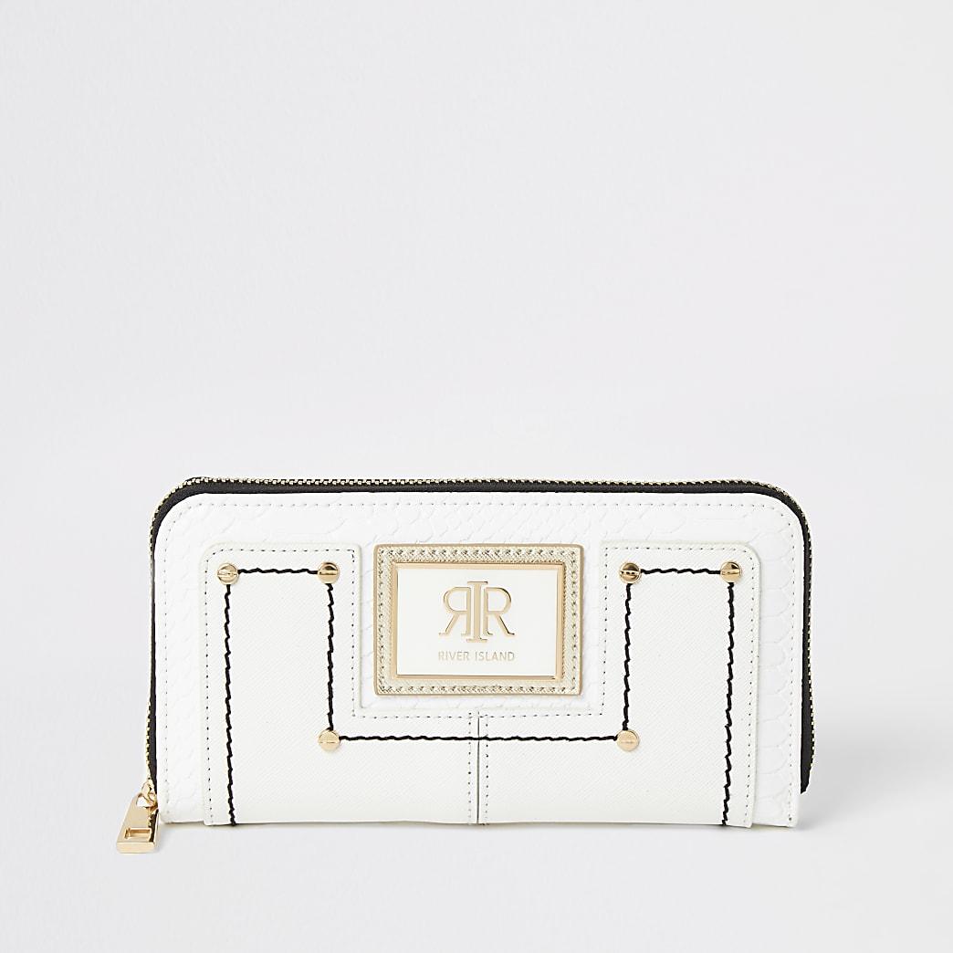 White RI zip around purse