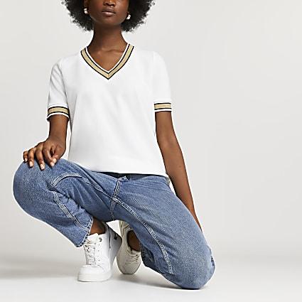 White ribbed v-neck stripe t-shirt