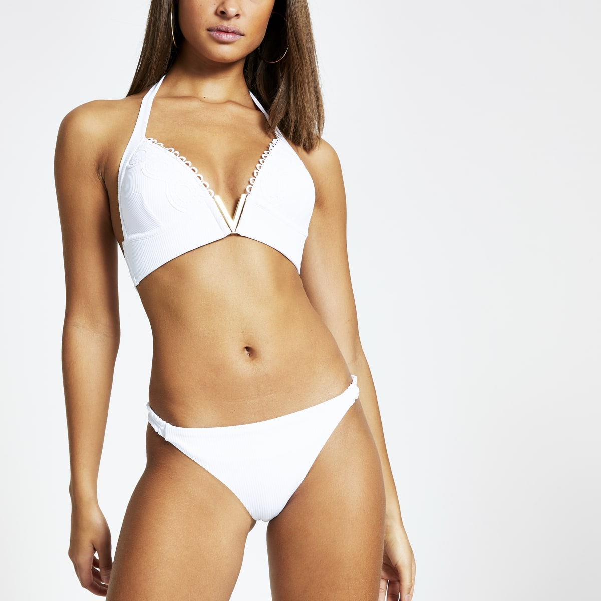 White ribbed V neck triangle bikini top