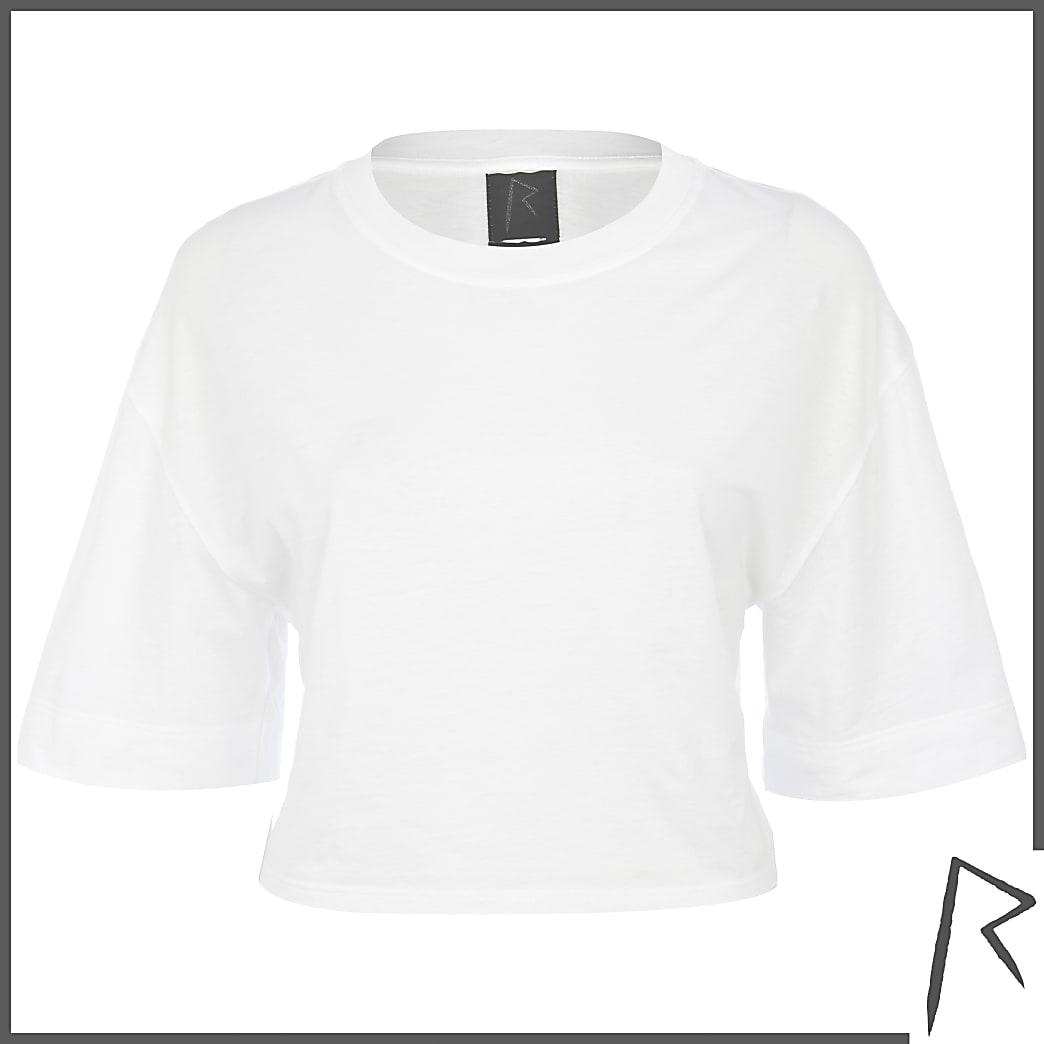 White Rihanna cropped t-shirt