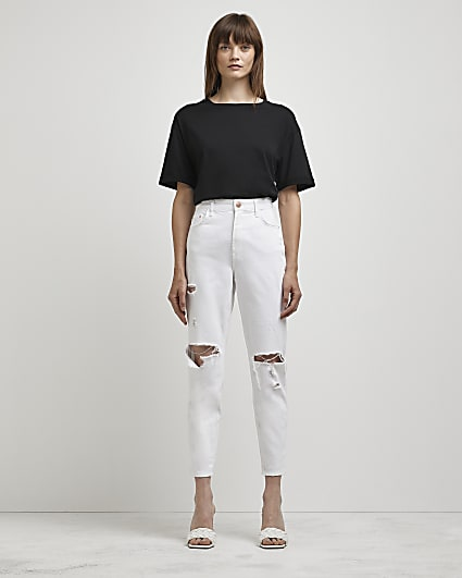 White ripped high waisted mom jeans
