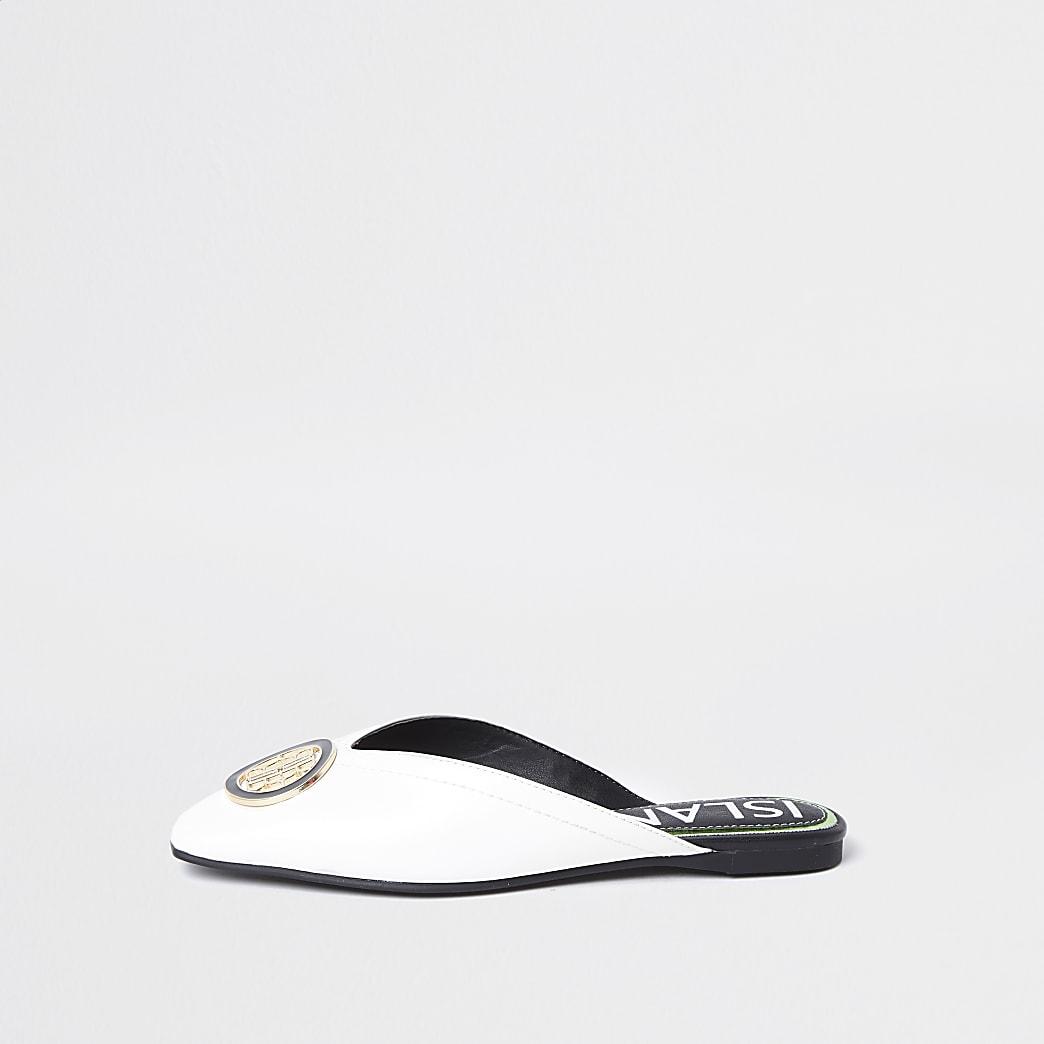 White 'RIR' embossed square toe mule sandal