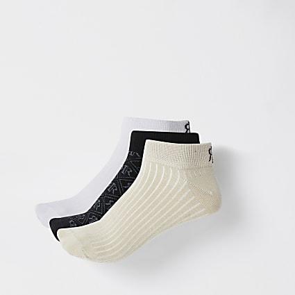 White RIR trainer socks 3 pack