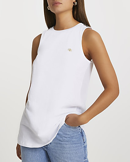 White 'RIR' woven longline vest top