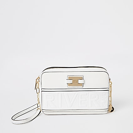 White 'River' embossed boxy cross body bag