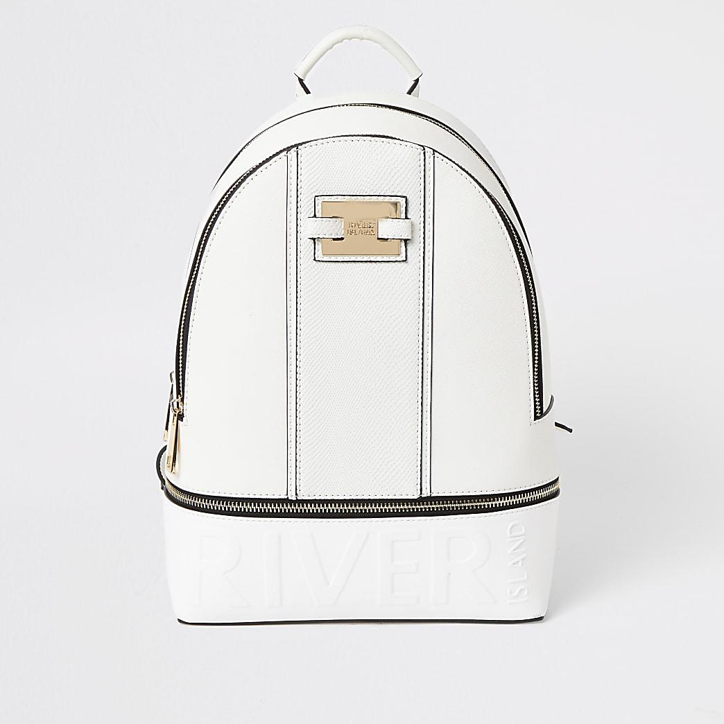White 'River' embossed zip top backpack
