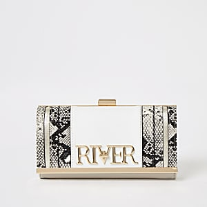White 'River' snake printed cliptop purse