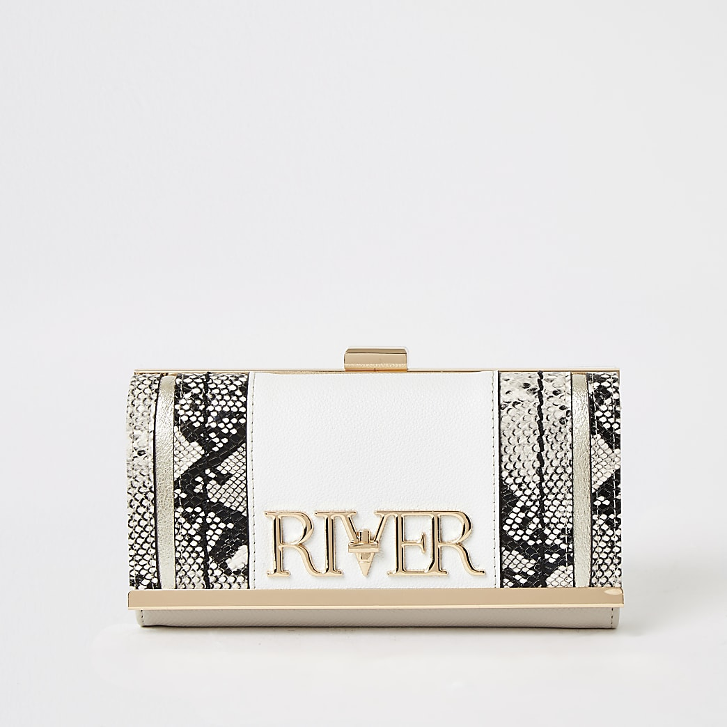 White 'River' snake printed cliptop purse