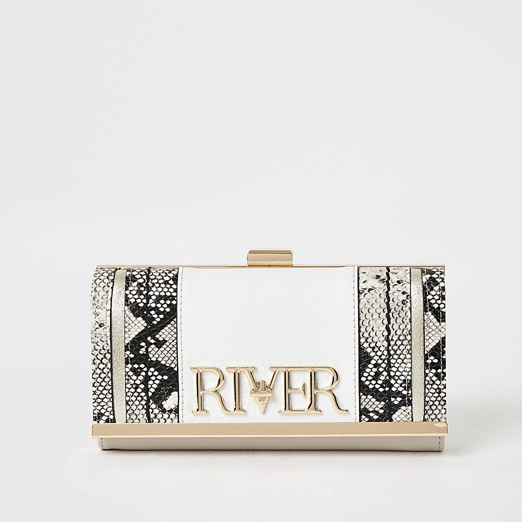 Witte portemonnee met 'River'-tekst, slangenprint en druksluiting
