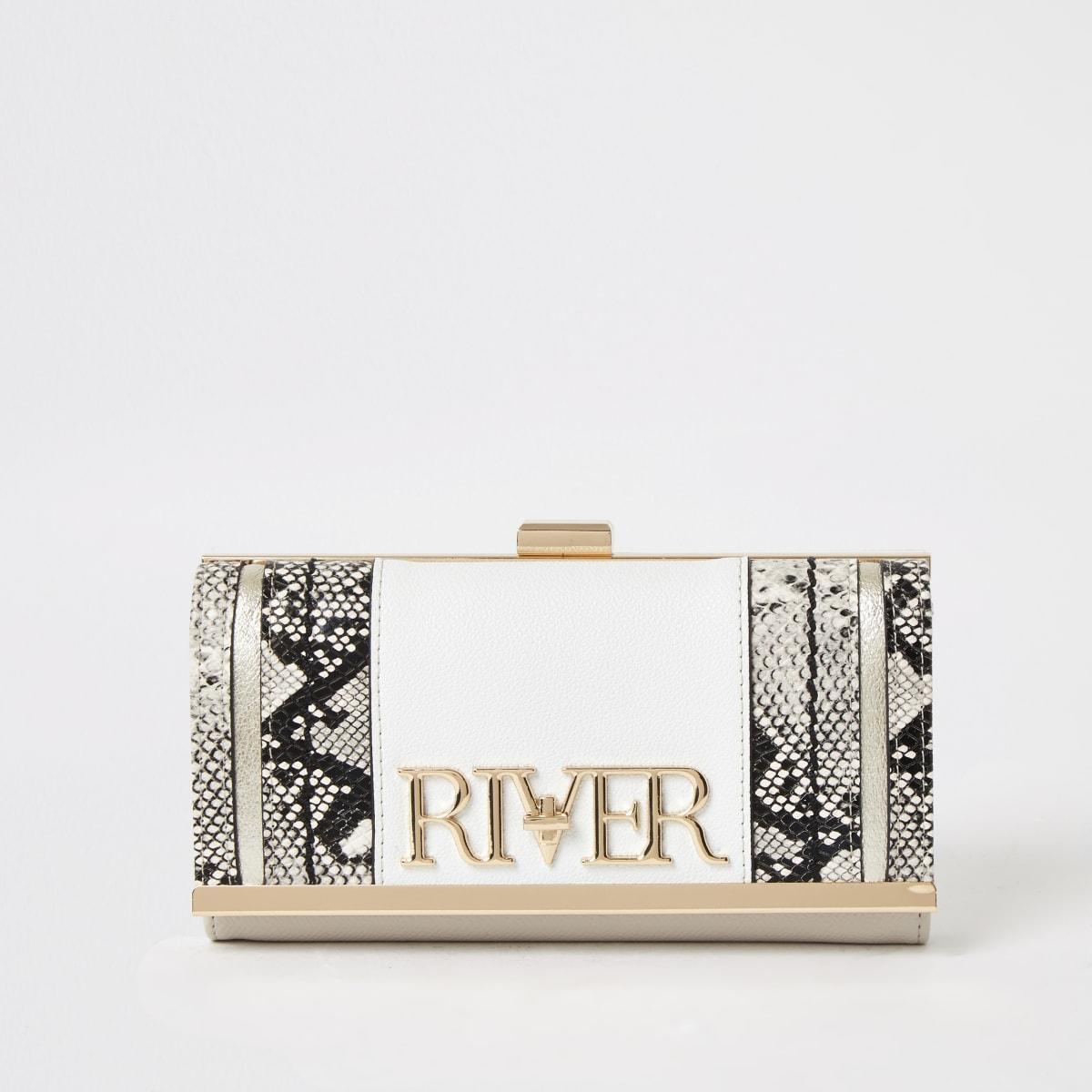 """Weiße Geldbörse """"River"""" mit Schlangenhautprint und Clipverschluss"""
