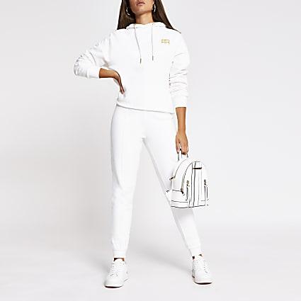 White RR branded tie waist jogger