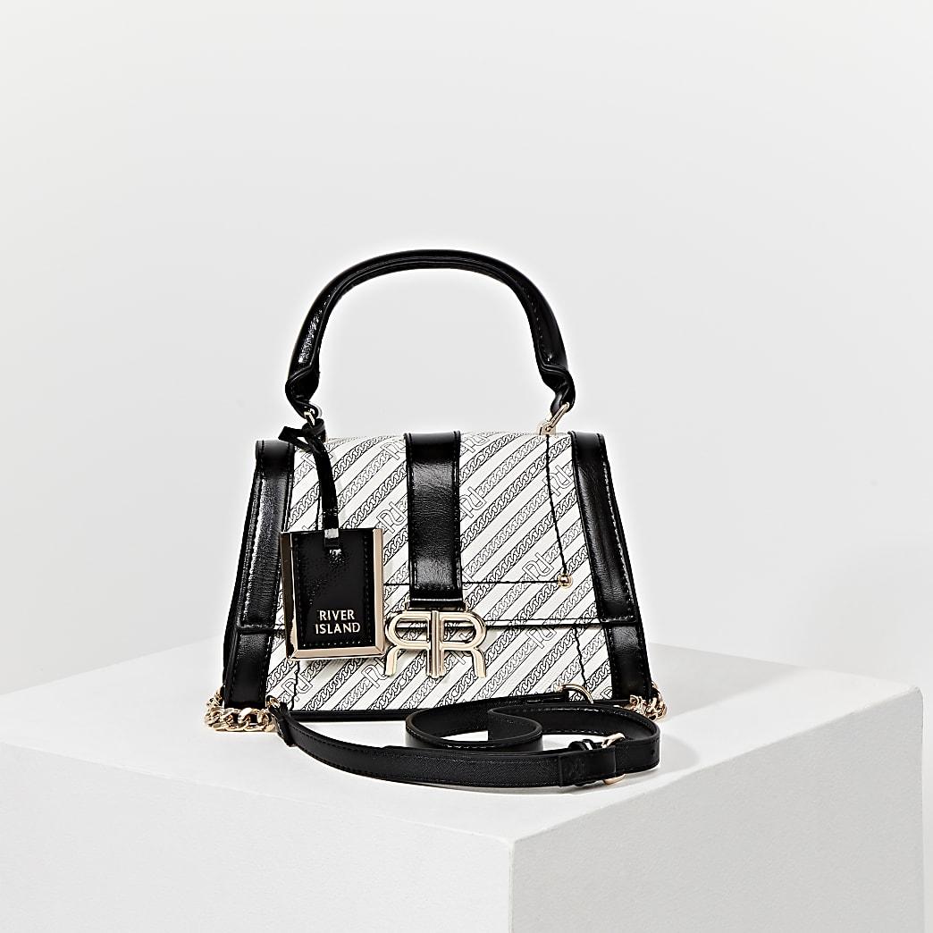 White 'RR' chain mini tote bag