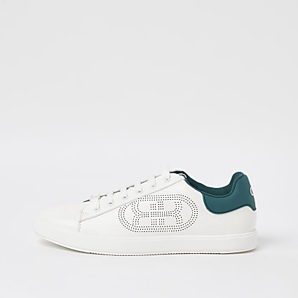 White RR monogram lace up trainers