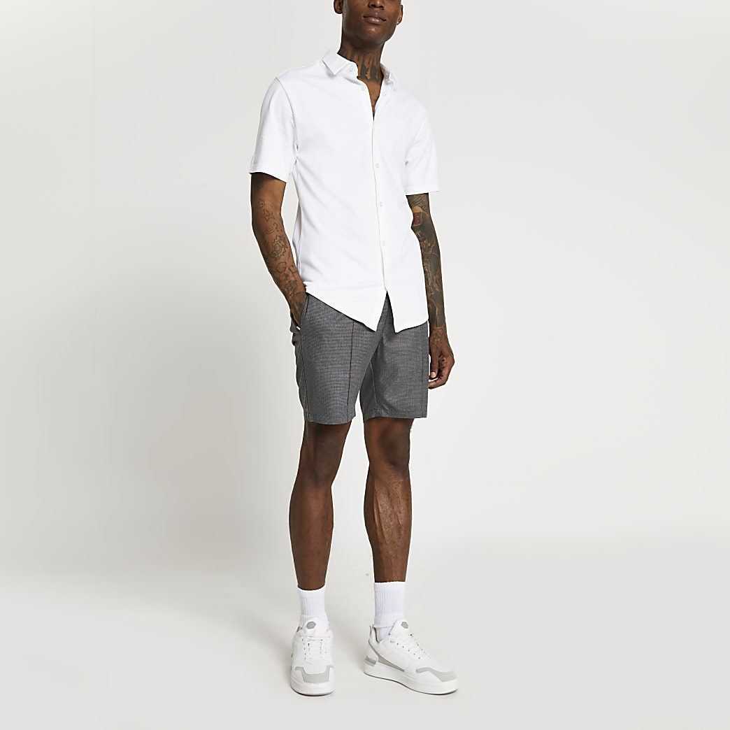 White RR muscle fit short sleeve shirt