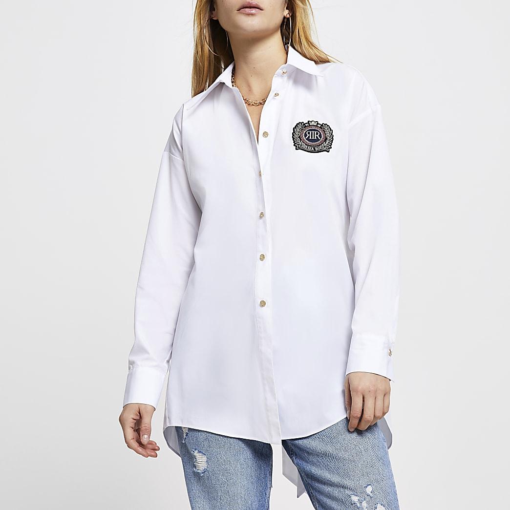 White 'RR' open back tie shirt