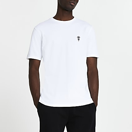 White 'RR' palm trees logo slim fit t-shirt