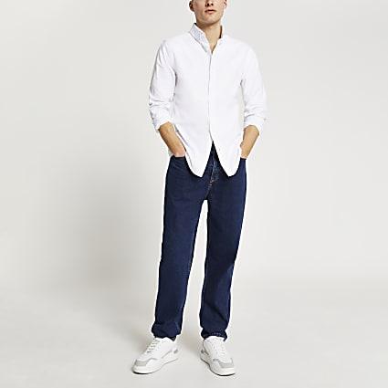White RR slim fit long sleeve Oxford shirt