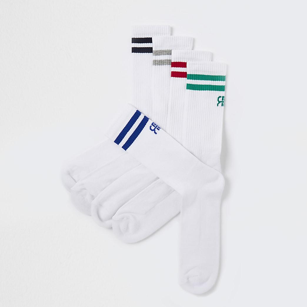White RR stripe socks 5 pack
