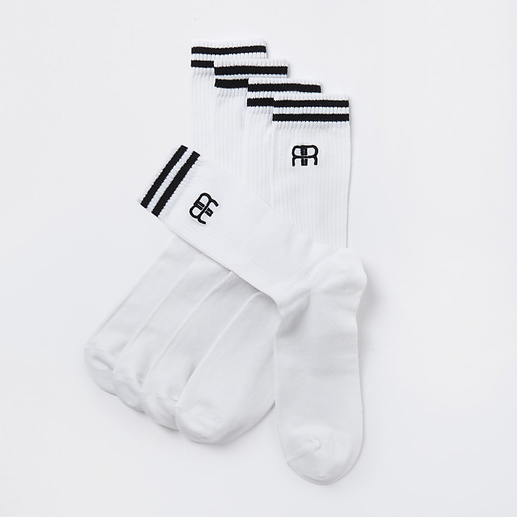 White RR stripe tube socks 5 pack