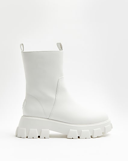 White rubber chunky boots