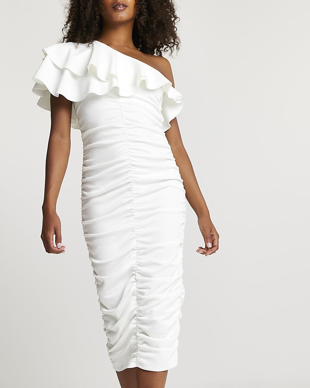 White ruched asymmetrical midi dress