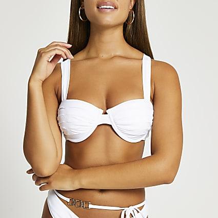 White ruched cross back balconette bikini top