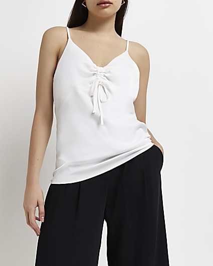 White ruched front cami top
