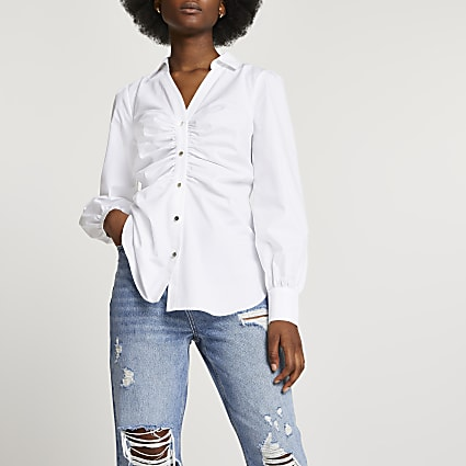 White ruched front long sleeve shirt