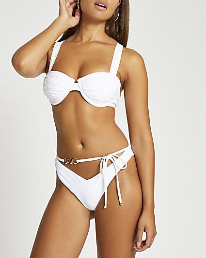 White ruched gold detail belted bikini briefs