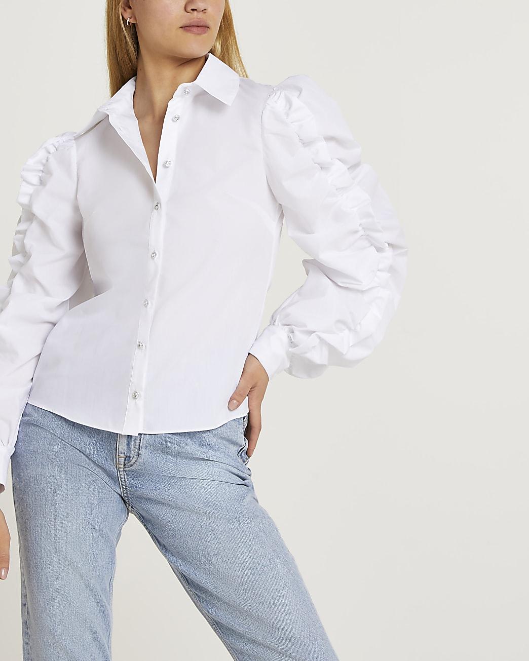 White ruched shirt