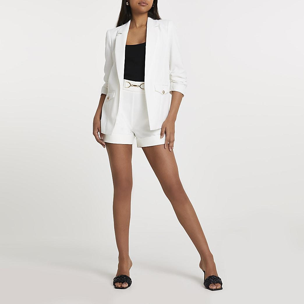 White ruched sleeve pocket detail blazer