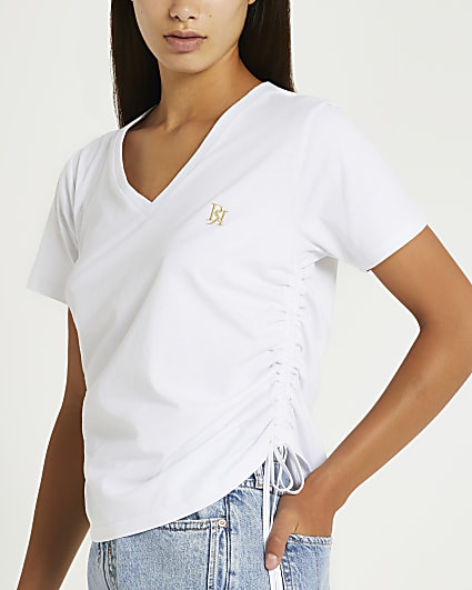 White ruched v-neck t-shirt