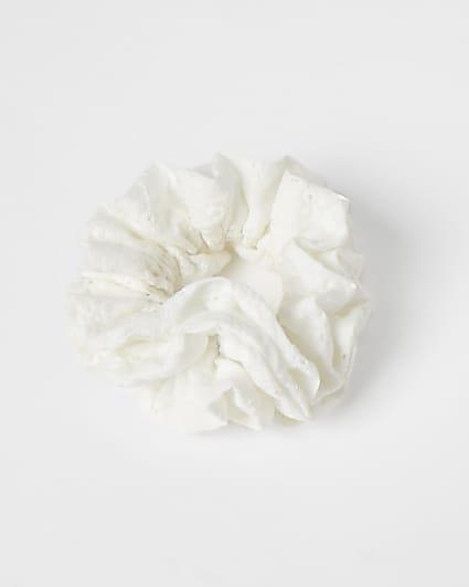 White ruffle hair scrunchie