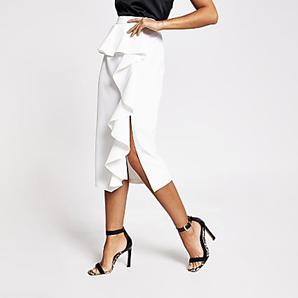 White ruffle midi skirt