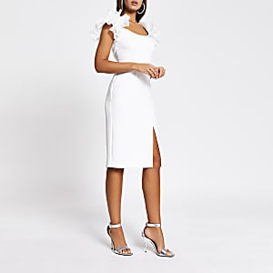 White ruffle sleeve bodycon midi dress