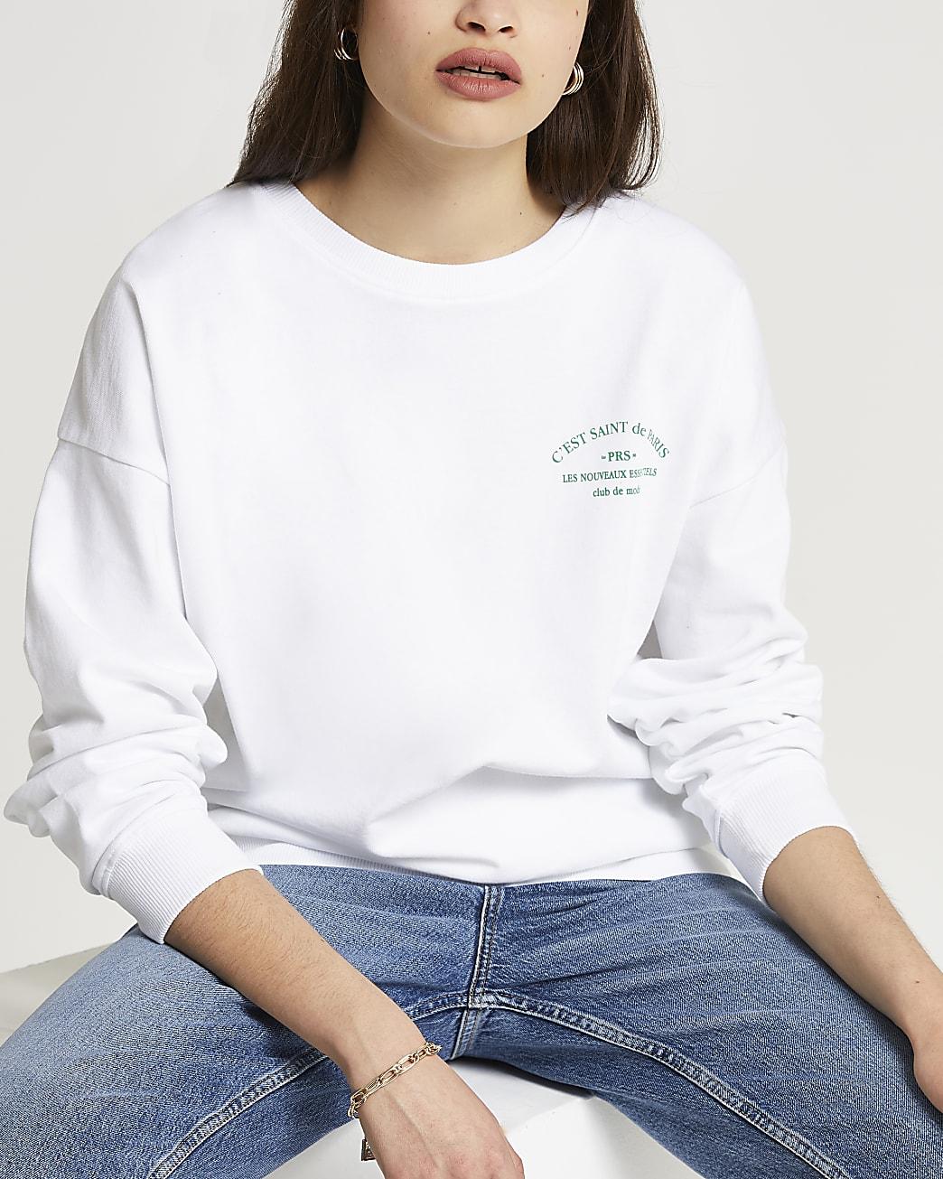 White 'Saint Paris' back print sweatshirt