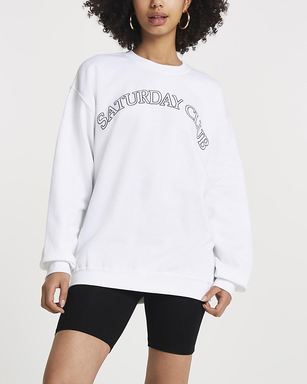 White 'Saturday Club' long sleeve sweatshirt