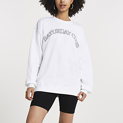 White 'Saturday Club' long sleeve sweatshirt