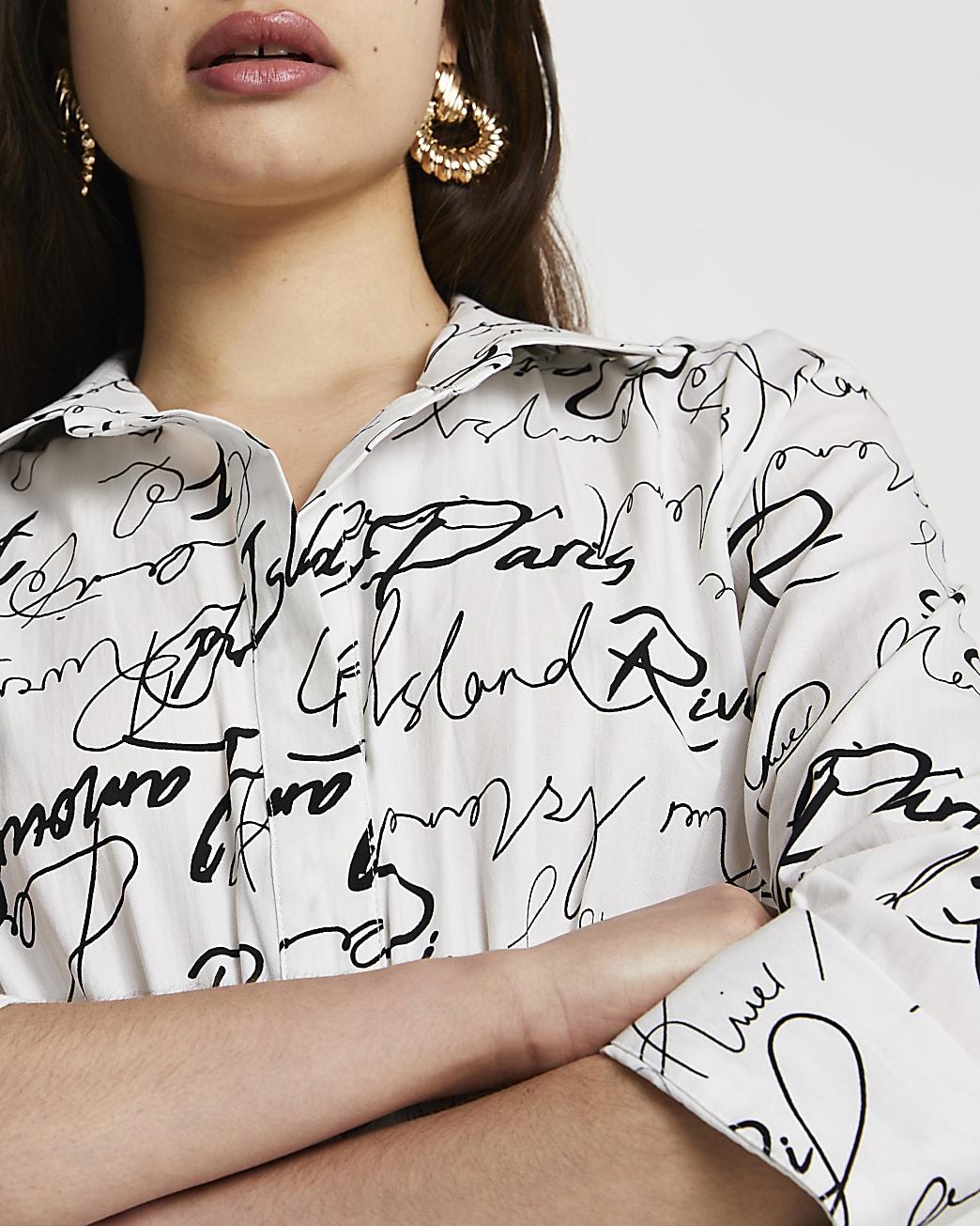 White scribble shirred waist shirt