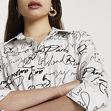 White scribble shirred waist shirt
